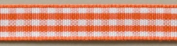 Vichykaroband, 10mm, Orange/Weiß, 25m Karte
